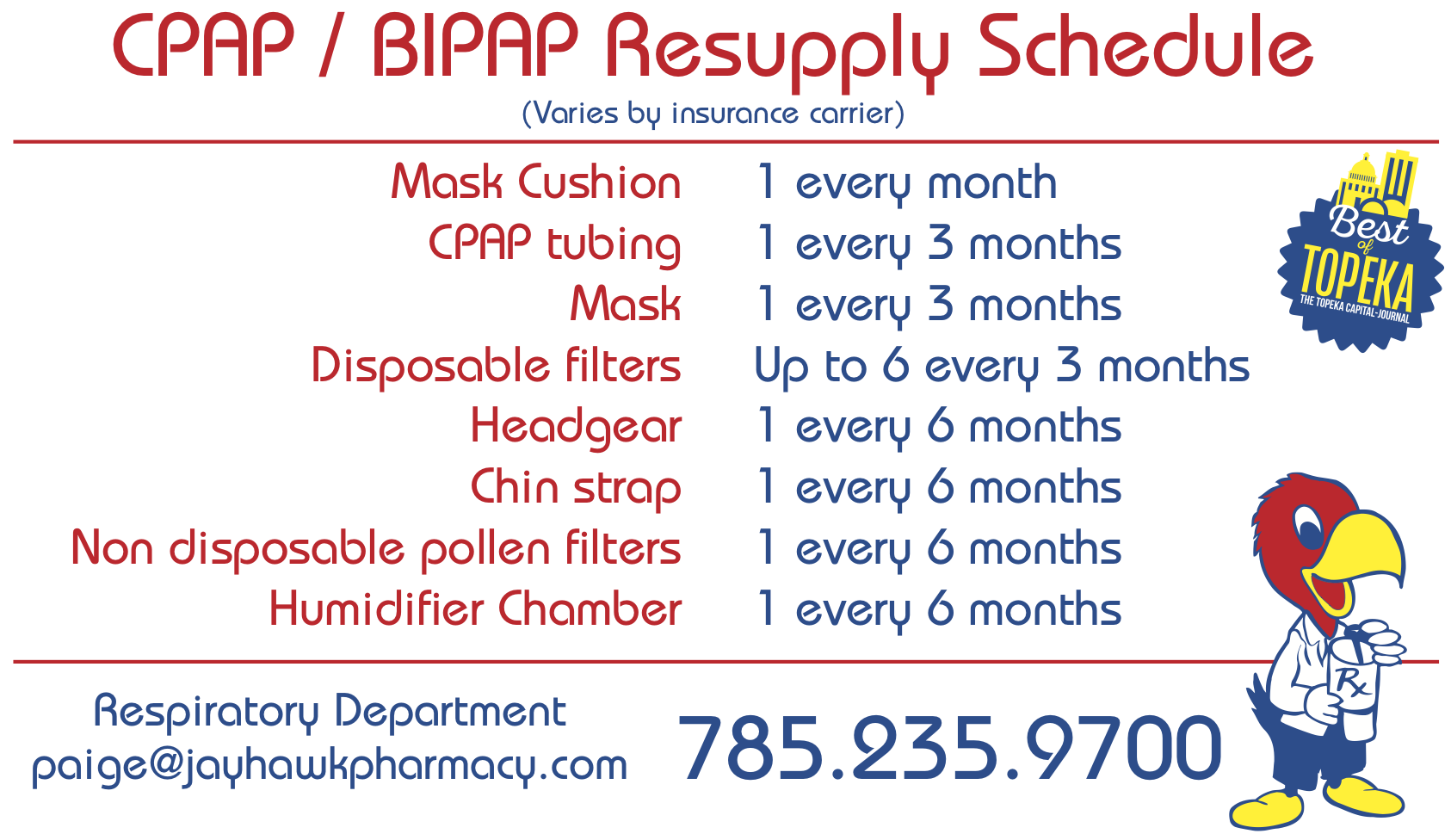 CPAP Resupply schedule