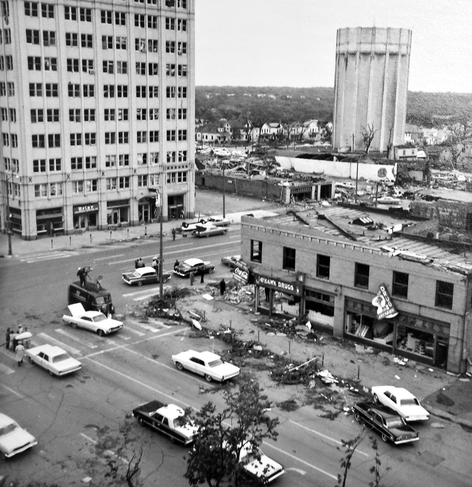 Jayhawk Pharmacy damaged by 1966 tornado